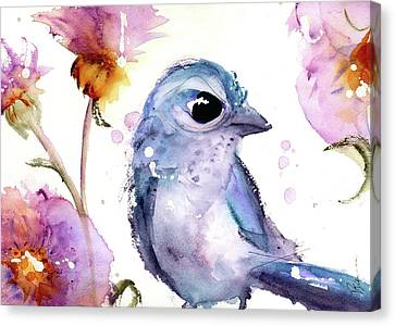 Canvas Print featuring the painting Scrub Jay In The Wildflowers by Dawn Derman