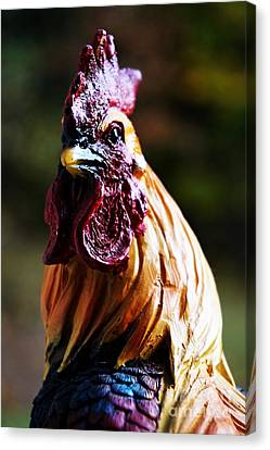Sculpted Rooster Canvas Print by Georgia's Art Brush