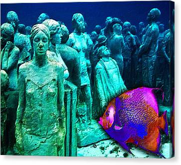 Sculpture Underwater With Bright Fish Painting Musa Canvas Print