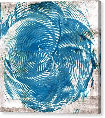 Wavy Canvas Print - Sea Blue Abstract by Frank Tschakert