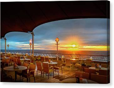 Canvas Print featuring the photograph Sea Cruise Sunrise by John Poon