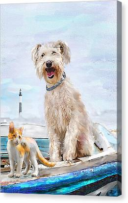 Sea Dog And Cat Canvas Print by Jane Schnetlage