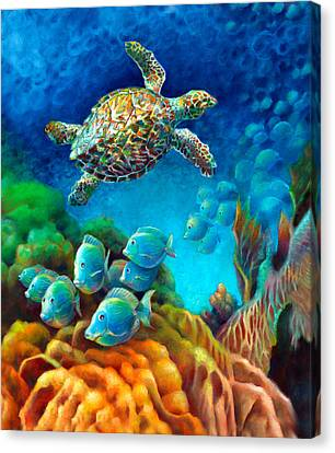 Canvas Print featuring the painting Sea Escape IIi - Gemstone Hawksbill Turtle by Nancy Tilles