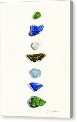 Sea Glass Watercolor Canvas Print by Sheryl Heatherly Hawkins