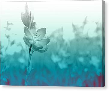 Garden Flowers Canvas Print - Sea Green Haze by Barbara  White