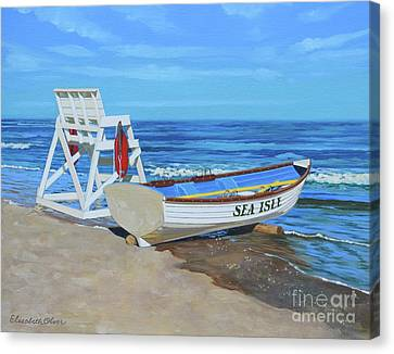 Sea Isle Beach Patrol Canvas Print by Elisabeth Olver