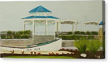 Row Boat Canvas Print - Sea Isle City New Jersey Gazebo by Patty Kay Hall