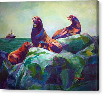 Sea Lions On The Rocks Canvas Print by Val Philbrook