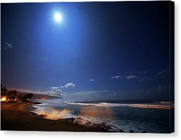 Sea Moon Full Moon Canvas Print - Sea Mist And Moonbeams by Kevin Smith