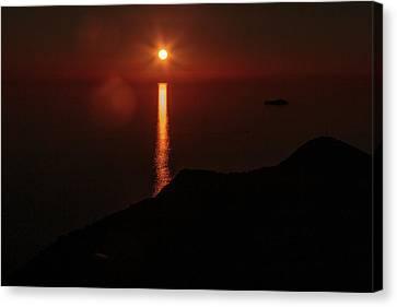Sea, Mountains, Sunset, Sun Sinking Over The Horizon Canvas Print