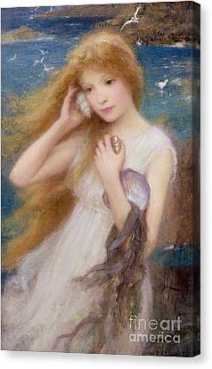Blond Canvas Print - Sea Nymph by William Robert Symonds