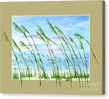 Sea Oats And Sea Canvas Print by Kevin Brant