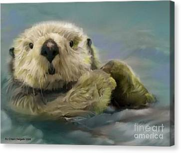 Sea Otter Canvas Print by Crispin  Delgado