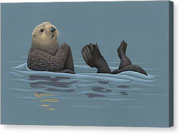 Sea Otter Canvas Print by Nathan Marcy