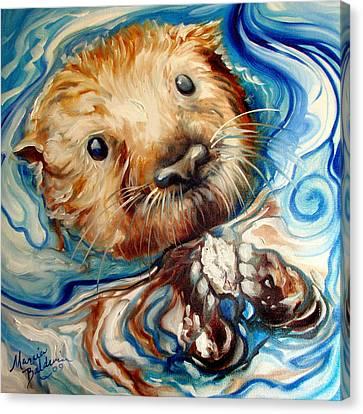 Canvas Print - Sea Otter Swim by Marcia Baldwin