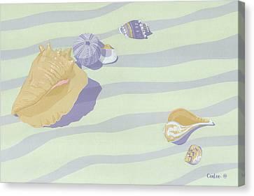 Sea Shells - Seashells - Abstract - Retro - Pop Art - Beach Decor - Beach Art - 1980s Painting Canvas Print