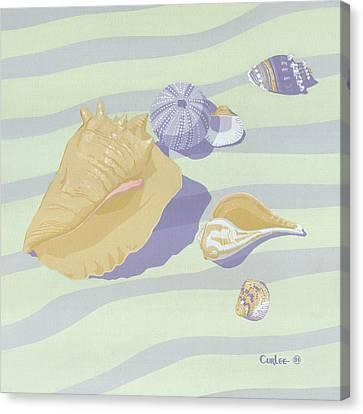 Sea Shells - Seashells - Retro - Pop Art - Beach Decor - Square Format - 1980s Painting Canvas Print