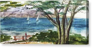 Sea Shore Elongated Painting Canvas Print