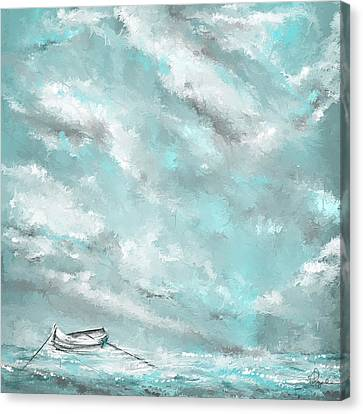 Sea Spirit - Lighter Version - Teal And Gray Art  Canvas Print