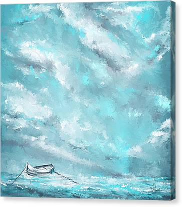 Sea Spirit - Teal And Gray Art Canvas Print