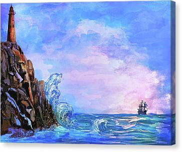 Canvas Print featuring the painting Sea Stories 2  by Andrzej Szczerski