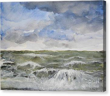 Canvas Print featuring the painting Sea Storm by Sibby S