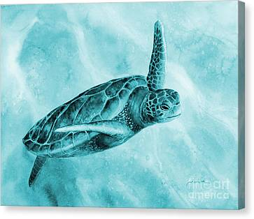 Sea Turtle 2 On Blue Canvas Print