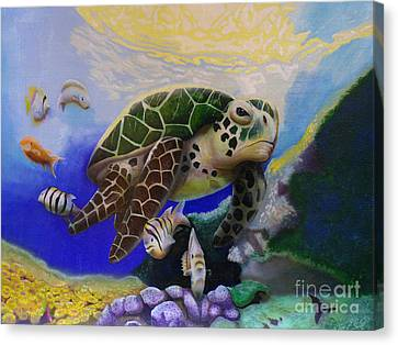 Canvas Print featuring the painting Sea Turtle Acrylic Painting by Thomas J Herring