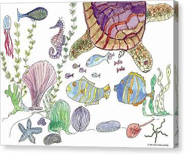 Sea Turtle And Fishies Canvas Print