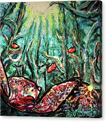 Sea Turtle And Garibaldi Canvas Print by Dennis Velco