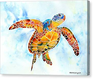 Sea Canvas Print - Sea Turtle Gentle Giant by Jo Lynch