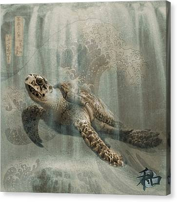 Sea Turtle Great Wave Canvas Print by Karla Beatty