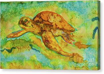 Sea Turtle Canvas Print by Jacqueline Phillips-Weatherly