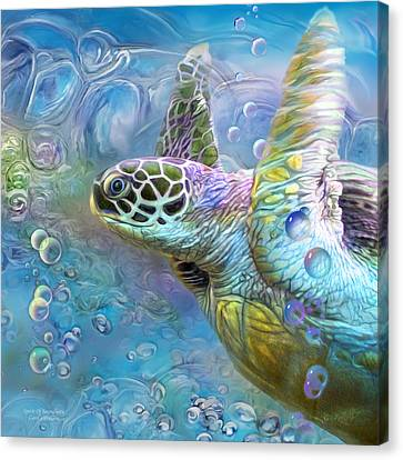 Canvas Print featuring the mixed media Sea Turtle - Spirit Of Serendipity by Carol Cavalaris