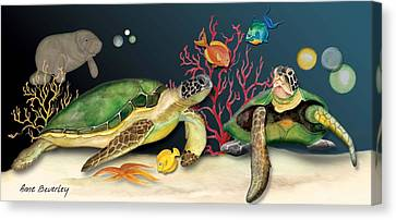 Sea Turtles Canvas Print by Anne Beverley-Stamps