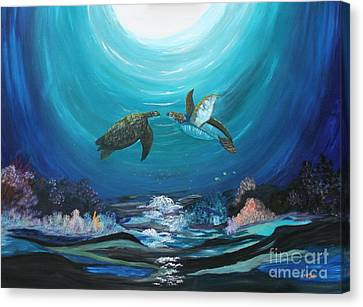 Sea Turtles Greeting Canvas Print by Myrna Walsh