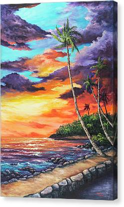Canvas Print featuring the painting Sea Wall Lahaina by Darice Machel McGuire