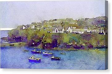 Ports Canvas Print - Sea Wall Of North Cornwall by Susan Maxwell Schmidt