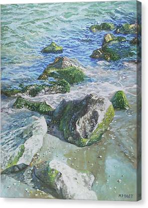 Canvas Print featuring the painting Sea Water With Rocks On Shore by Martin Davey