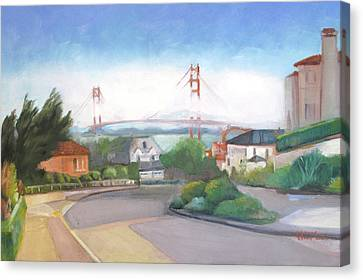 Seacliff Vision With Golden Gate Bridge In Fog Canvas Print