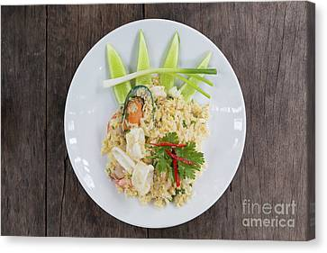 Seafood Fried Rice Canvas Print by Atiketta Sangasaeng
