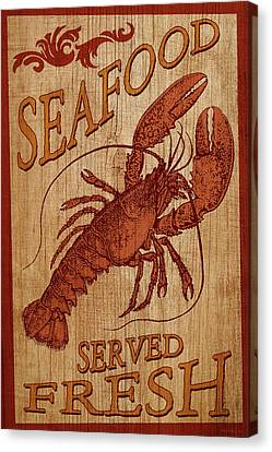 Seafood Sign Canvas Print by WB Johnston