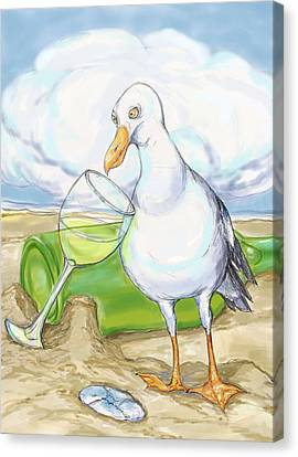 Seagull  Chardonnay Canvas Print by Peggy Wilson