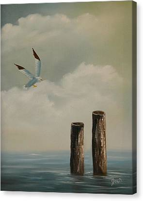 Canvas Print featuring the painting Seagull Landing by Joni McPherson