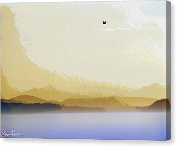 Seagull Over Puget Sound 2 - Signed Limited Edition Canvas Print
