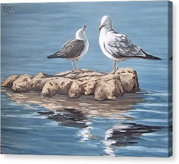 Seagulls In The Sea Canvas Print by Natalia Tejera