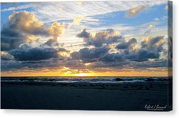Seagulls On The Beach At Sunrise Canvas Print