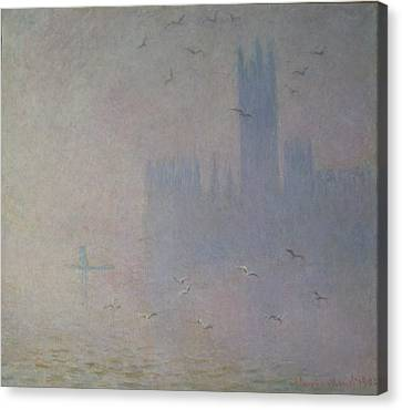 Seagulls Over The Houses Of Parliament Canvas Print by Claude Monet
