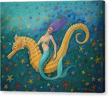 Seahorse Mermaid Canvas Print by Sue Halstenberg