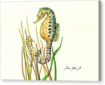 Seahorse Mom And Baby Canvas Print by Juan Bosco